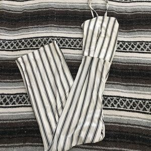 White and Black Striped Jumpsuit (NWT)